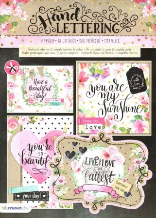 Hand Lettering 3D Die Cut Decoupage A4 Block  By Studio Light